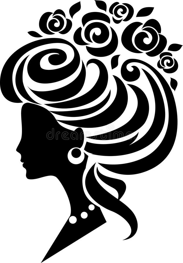 Lady icon. Vector girl with beautiful hairdo