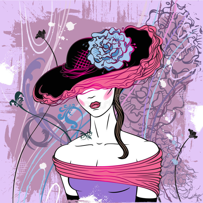 Free Lady In Hat With Flower - Vector Stock Photos - 17880553