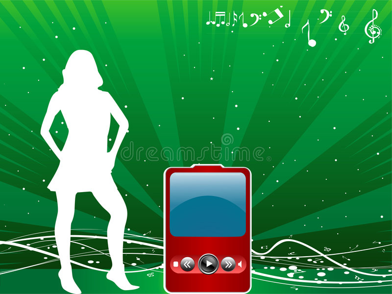 Lady with ipod stock illustration