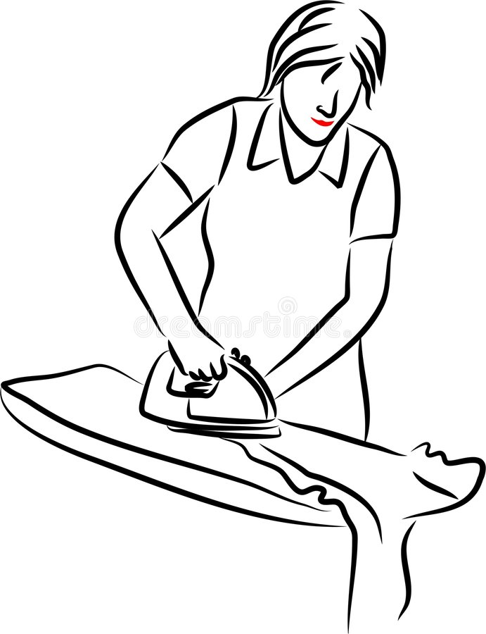 Download Lady ironing stock vector. Illustration of domestic, objects - 169389