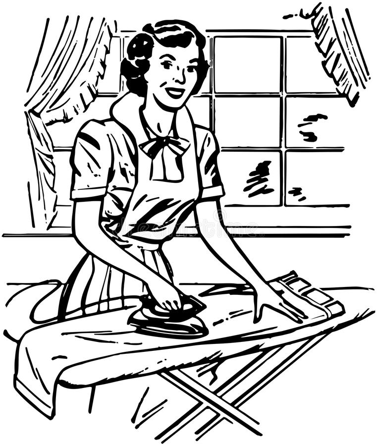 Lady Ironing royalty free illustration