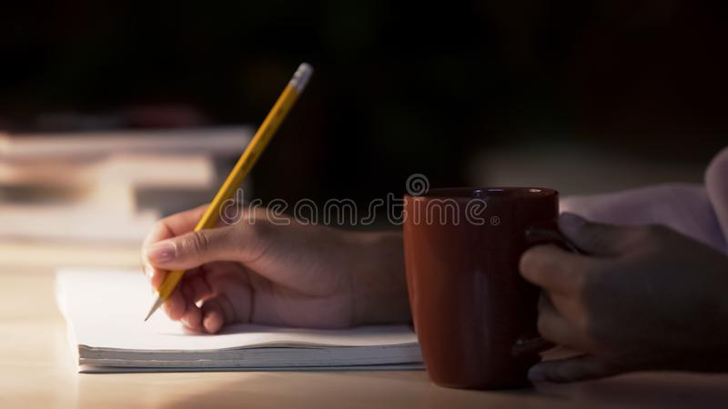 Lady journalist making notes in her notebook drinking coffee in cozy atmosphere royalty free stock photos