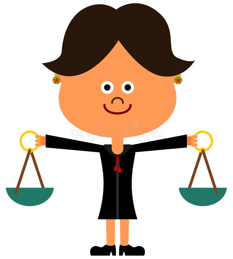 Lady judge. A cute illustration of a female judge balancing her two arms like a scale royalty free illustration