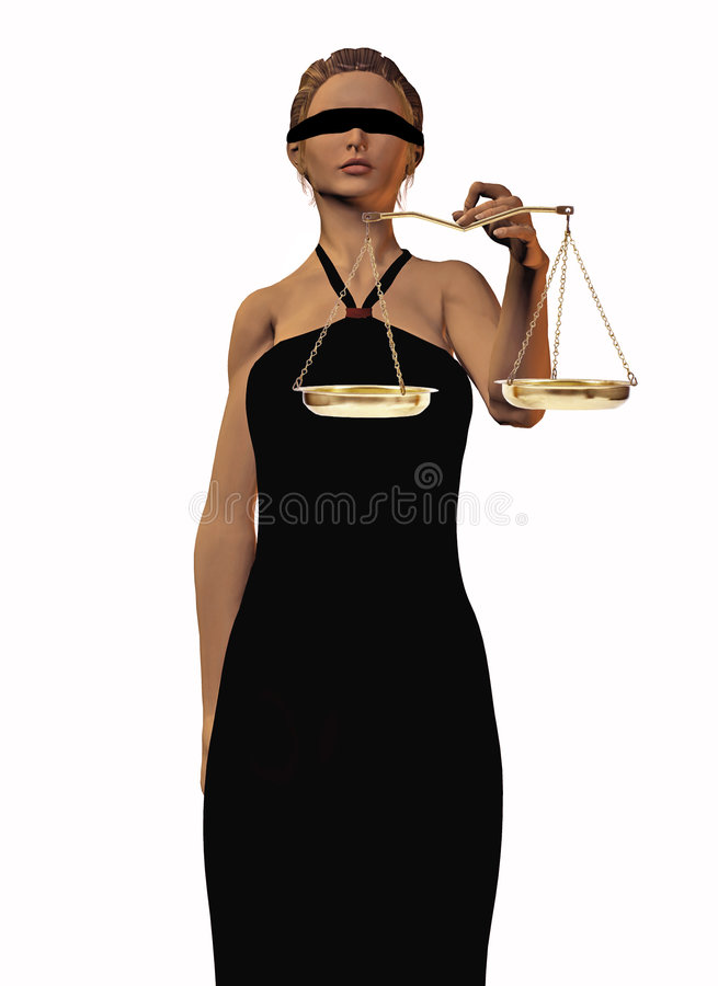 Lady Justice. 3D rendering of blind folded woman holding scales