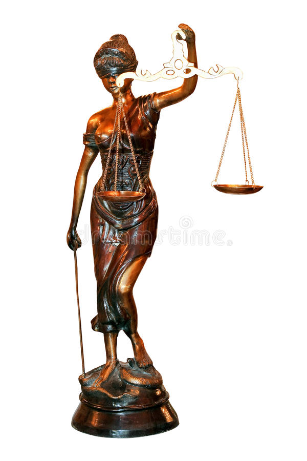 Lady Justice. Statue isolated included clipping path stock photo