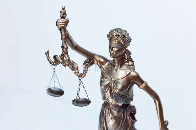 Lady justice figure. Part of bronze lady justice figure royalty free stock photography