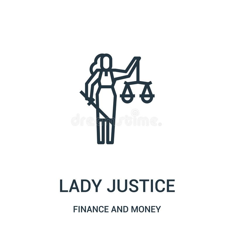 lady justice icon vector from finance and money collection. Thin line lady justice outline icon vector illustration stock illustration