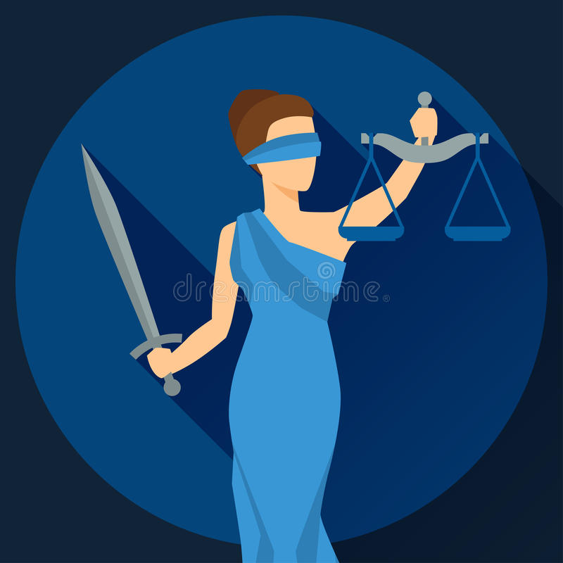 Lady justice illustration in flat design style royalty free illustration