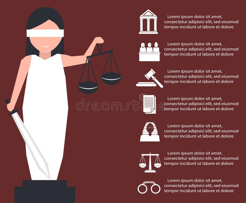 Lady justice or Iustitia in flat stile vector illustration