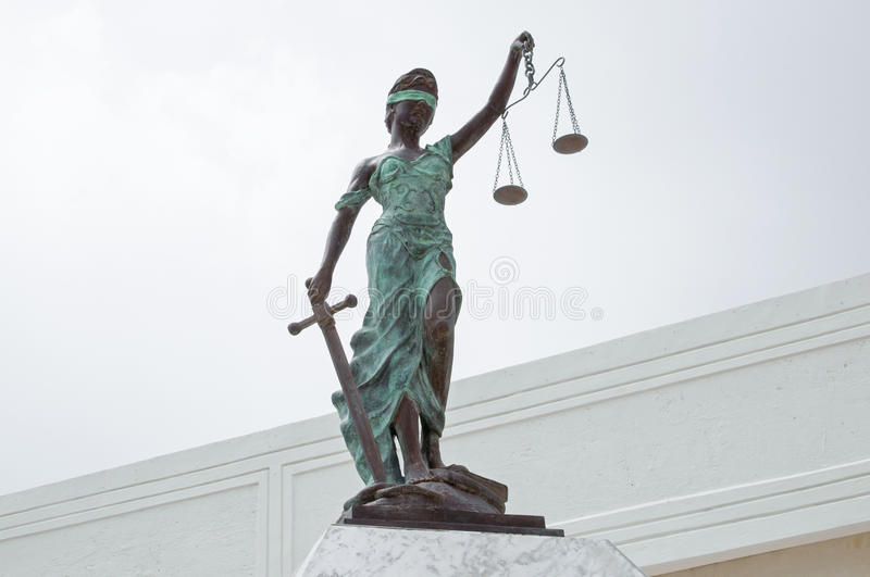 Lady Justice at Palace of Justice in Chetumal stock image