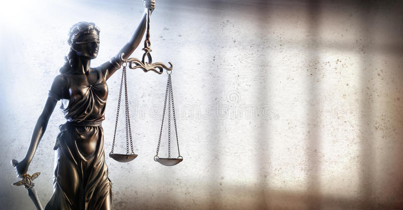 Lady Justice And Prison - Penal Justice stock image