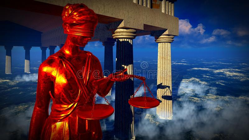 Lady of Justice statue in front courthouse 3d rendering vector illustration