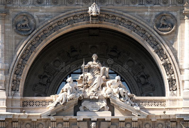 Lady Justice Statue on Palace of JusticePalazzo di Giustizia, seat of the Supreme Court of Cassation, Rome royalty free stock images