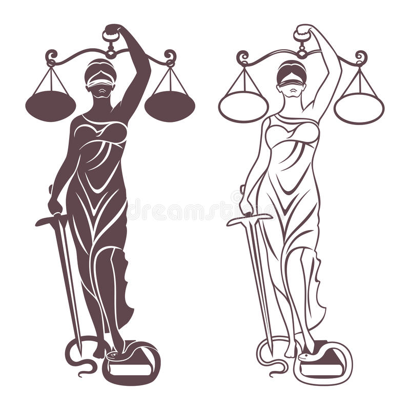 Lady justice Themis stock illustration