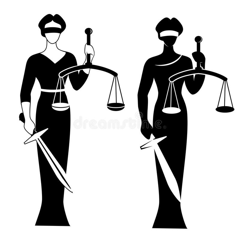 Lady justice black stock illustration