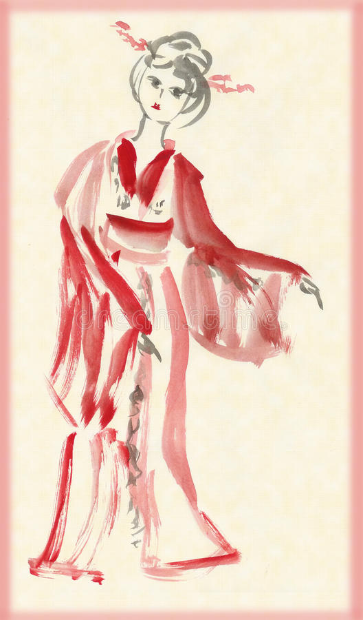 Download The lady in kimono dancing stock illustration. Image of attractive - 18349995