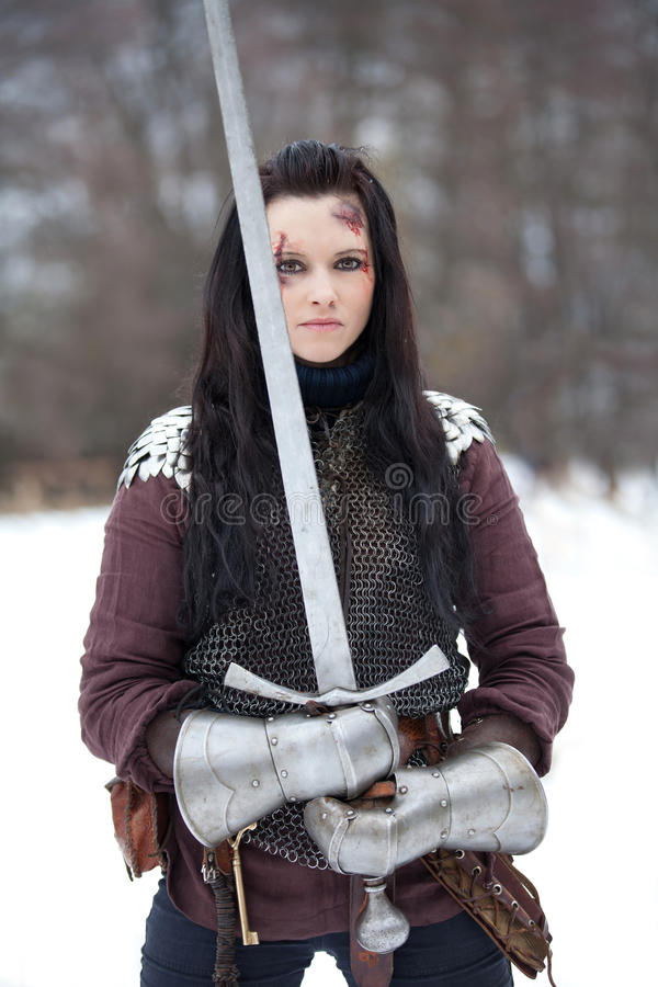 Lady knight stock photo