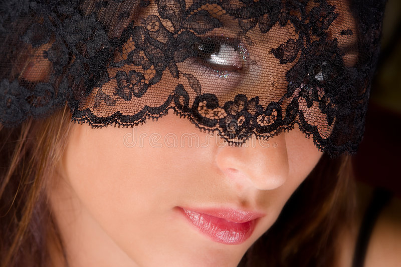Download Lady in lace stock image. Image of expressive, mystery - 7081809