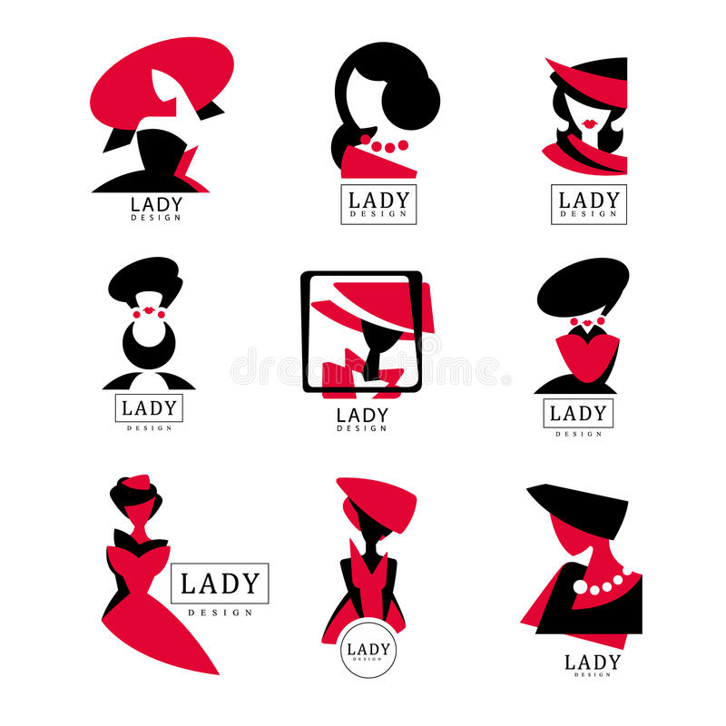 Lady logo design set, vector Illustrations for fashion boutique, womens clothing store, shop, beauty salon, cosmetic. Elements for labels, stickers, prints and stock illustration