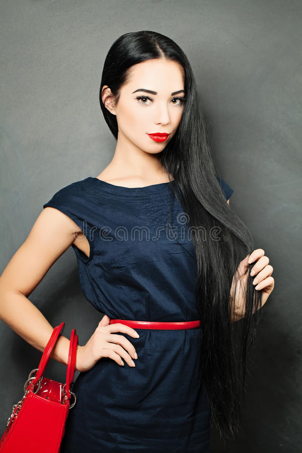 Lady with Long Healthy Hair royalty free stock photo