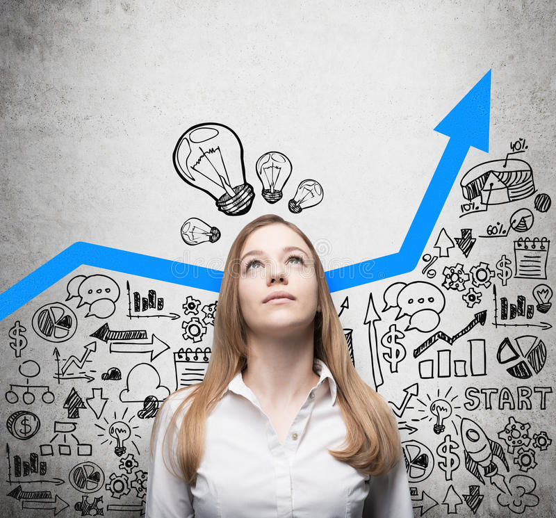 Lady is looking for new business ideas. Blue growing arrow as a concept of successful business. Business icons are drawn stock photos