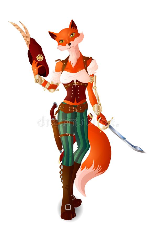 Lady Luck. Girl Fox in pirate clothes in steampunk style. With sword and hat royalty free illustration