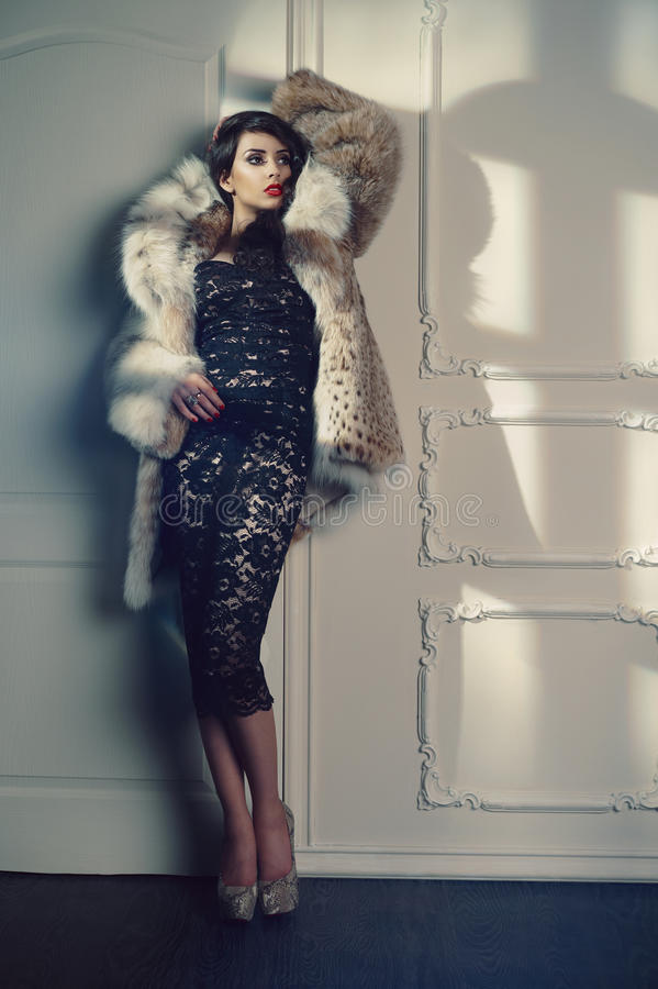 Lady In Luxurious Fur Coat Royalty Free Stock Image