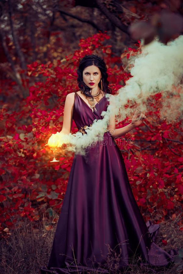 Lady in a luxury lush purple dress stock photography