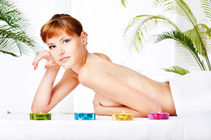 Lady on the massage table stock images
