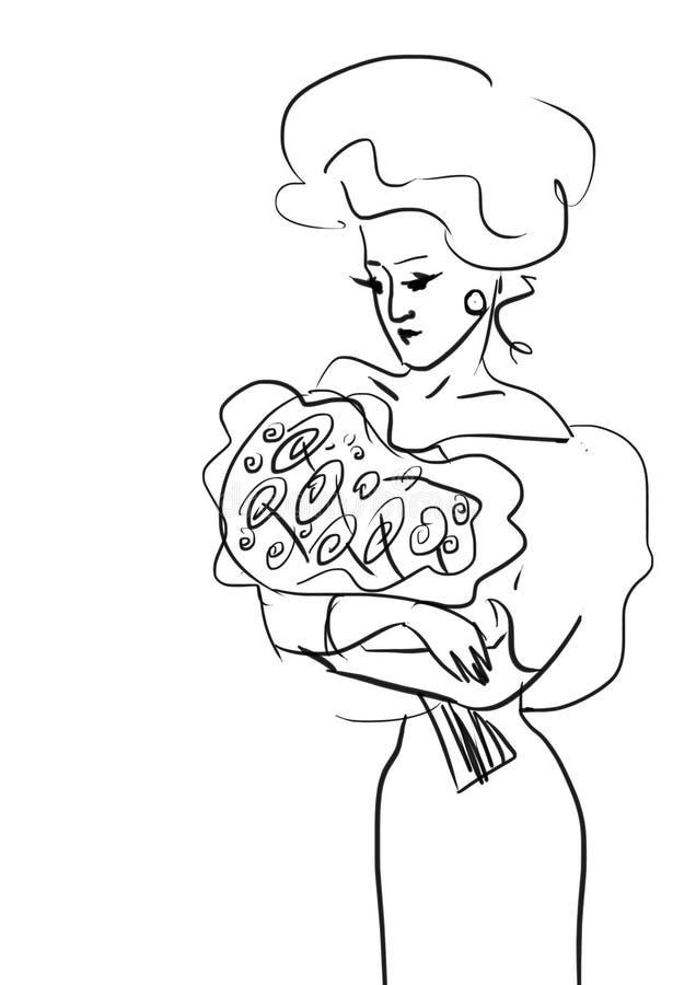 Lady med ro stock illustrationer
