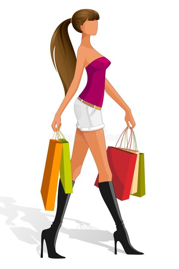 Lady med shoppingpåsen stock illustrationer