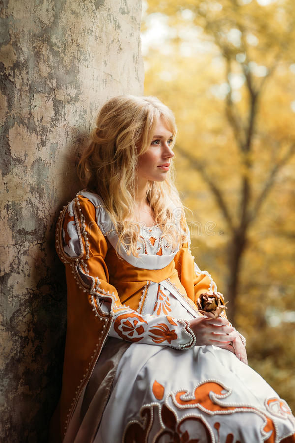 Lady in medieval costume stock photos