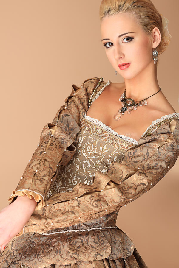 Lady in medieval dress stock image