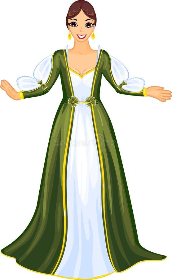 Lady in medieval dress vector illustration