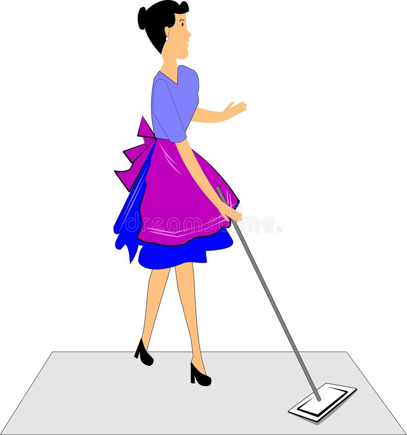 Download Lady mopping the floor stock vector. Image of house, houseclean - 24292496