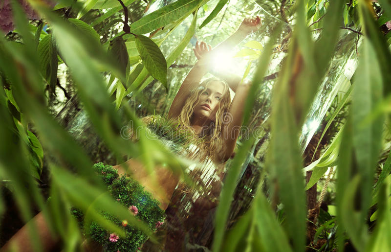 Download Lady Nature Enjoying The Sunrise In Jungle Stock Photo - Image: 34470630