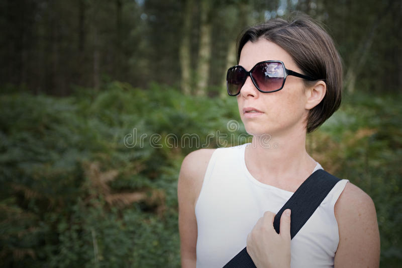 Lady Out For A Walk In The Forest Stock Images