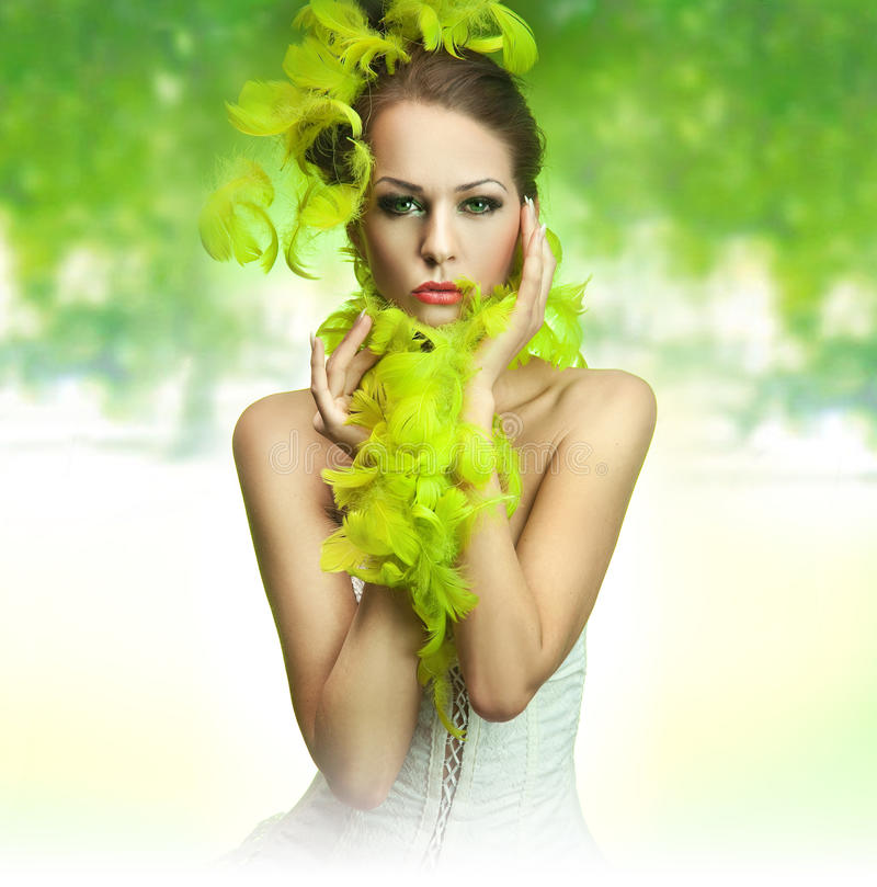 Lady over green background. Cute young lady over green background
