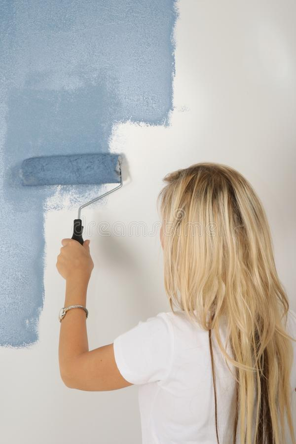Lady Painting House royalty free stock images