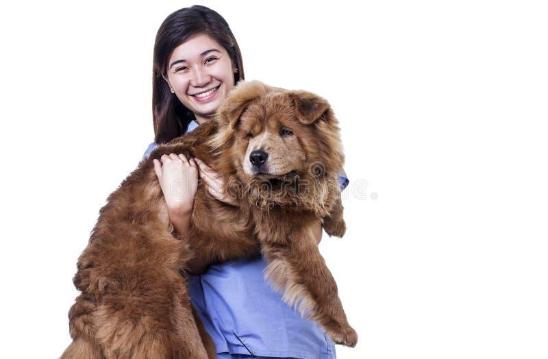 Lady With Pet Dog stock image