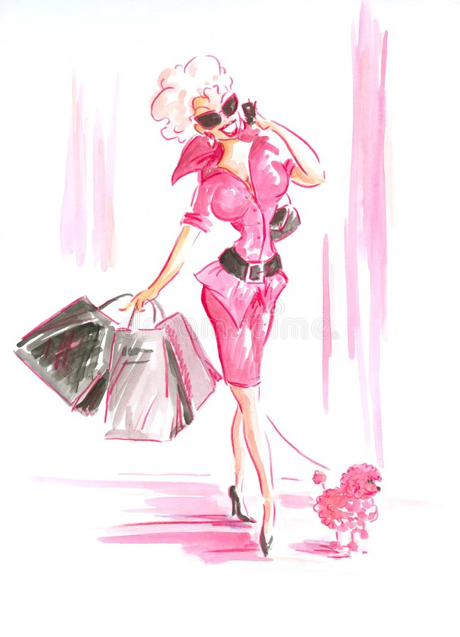 Lady in pink stock photos