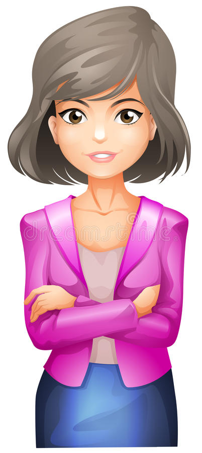 A lady with a pink blazer stock illustration