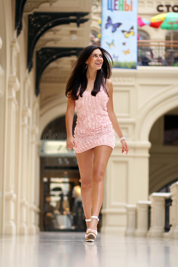 Lady in pink dress royalty free stock image