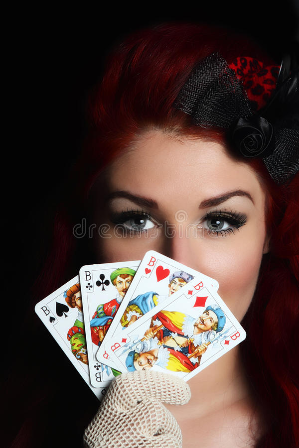 Lady with playing cards royalty free stock photos