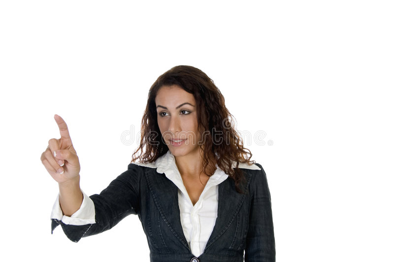 Lady Pointing Out Something Royalty Free Stock Photo