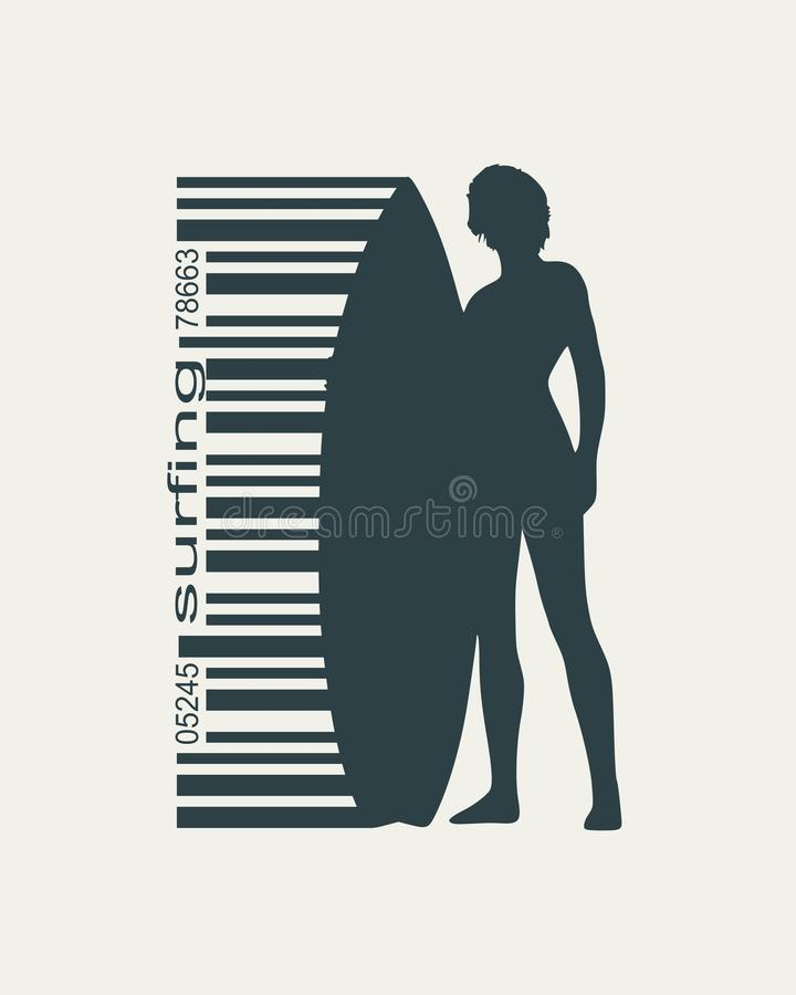 Lady posing with surfboard. Woman posing with surfboard. Surfing emblem for web design or print. Bar code connected with silhouette royalty free illustration