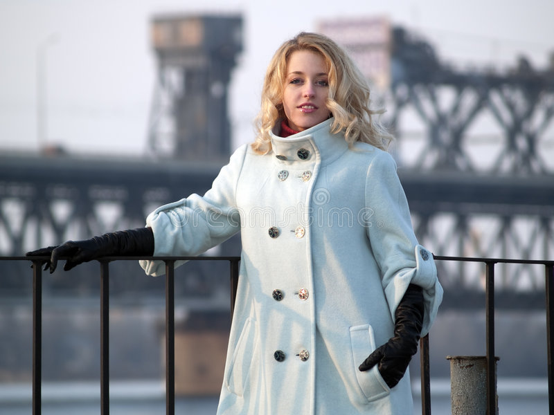 Lady on promenade stock photo