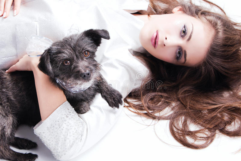 Lady And Puppy Stock Image