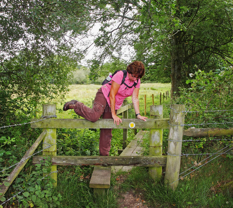 Download Lady Rambler Climbing Over A Stile Stock Image - Image: 20291763