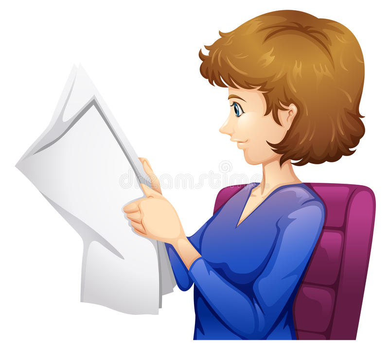 A lady reading a newspaper. Lllustration of a lady reading a newspaper on a white background stock illustration